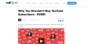 vidIQ - Do Not Buy YouTube Subscribers